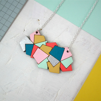 Geometric Stack Wooden Necklace