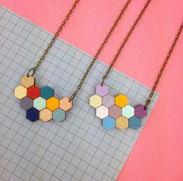 Hexagon Honeycomb Geometric Apis Necklace