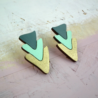 Geometric Triangle Trio Wooden Stud Earrings