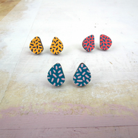 Teardrop Polka Dot Wooden Earrings