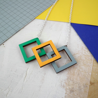 Geometric Cubic Square 3D Wooden Necklace