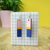Geometric Rectangle Wooden Drop Bloc Earrings