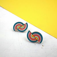 Wooden Rainbow Stud Earrings