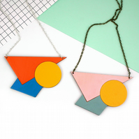 Statement Geometric Triangle Wooden Necklace