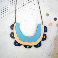 Flower Bib Collar Statement Wooden Necklace