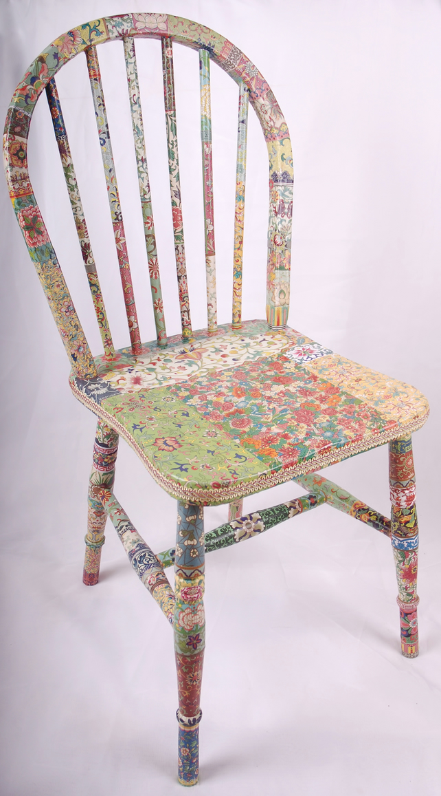 "Decoupage spindle back chair, ""Fleur"""