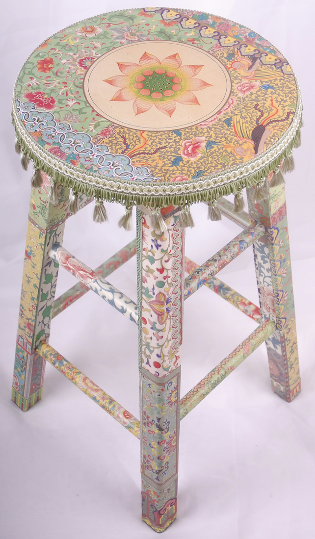 "Decoupage stool,""Qian"""