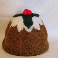 Hand Knitted Christmas Pudding Hat