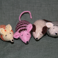 Assorted Hand Knitted Catnip Mice