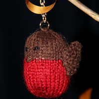 Hand Knitted Little Robin Keyring