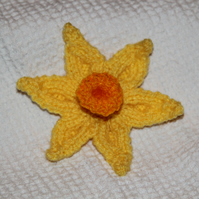 Hand Knitted Daffodil Brooch for Charity