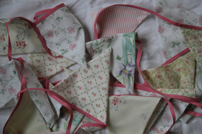 Vintage Tea Service Inspired Shabby Chic Hints of Pink Bunting