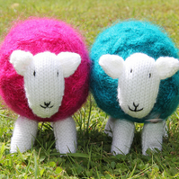 Bright Pink Mohair Cabled Snuggly Sheep