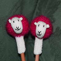 Hand Knitted Hot Pink Sheep Pen Topper