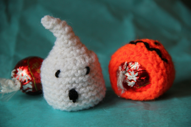 Hand Knitted Ghost Sweetie Holder