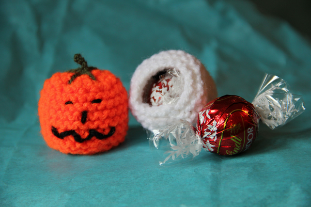 Hand Knitted Pumpkin Sweetie Holder
