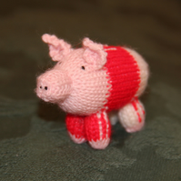 Hand Knitted Number 10 Footie Piglet