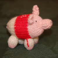 Hand Knitted Number 11 Footie Piglet