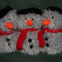 Hand Knitted Silver Snowman