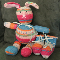 Hand Knitted Random Bunny and Booties