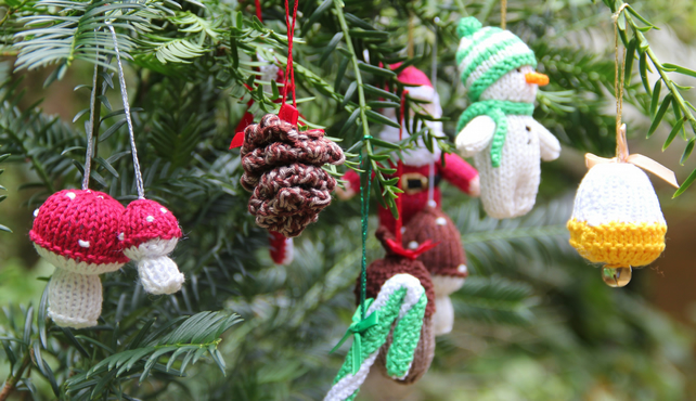 Set of Nine Hand Knitted Small Decorations
