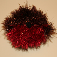 Hand Knitted Tinsel Robin Bauble