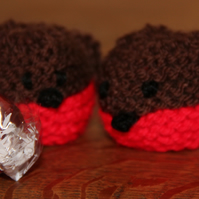 Hand Knitted Christmas Robin Sweetie Holder