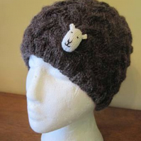 Small Adult Hand Knitted Alpaca mix Sheep Hat