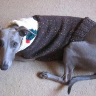 Hettie Whippet Hand Knitted Christmas Pudding Tank