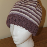 Hand Knitted Alpaca Mix Striped Beanie