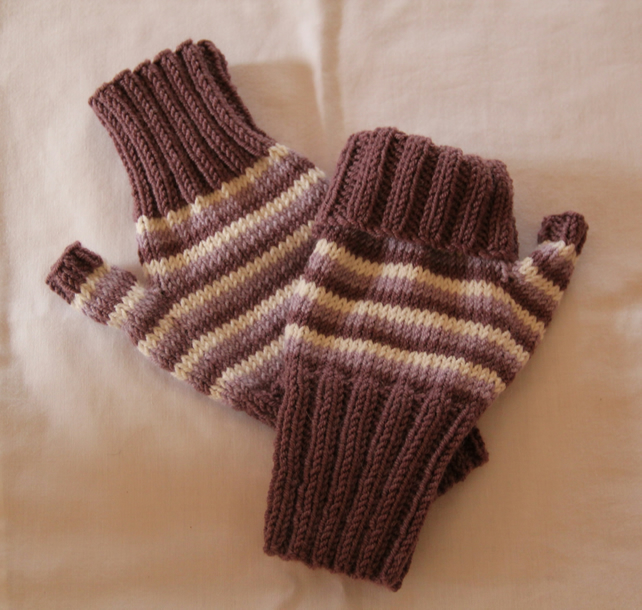 Hand Knitted Alpaca Mix Striped Fingerless Gloves