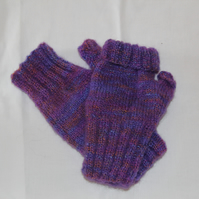 Hand Knitted Mohair Mix Fingerless Gloves