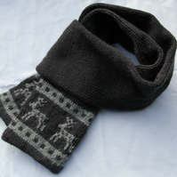 Hand Knitted Dark Grey  Alpaca Mix Scandi Scarf