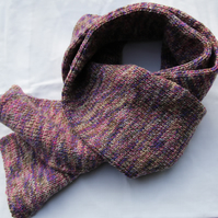 Hand Knitted Random Heather Shades Wool & Acrylic Mix Scarf