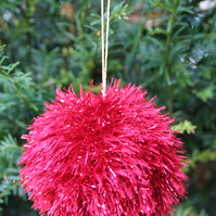 Hand Knitted Red Tinsel Bauble