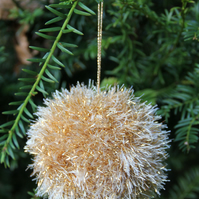 Hand Knitted Gold Tinsel Bauble