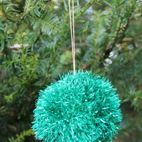Hand Knitted Green Tinsel Bauble
