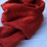 Hand Knitted Russet Lambswool and Kid Mohair Mix Scarf
