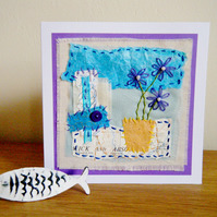 Purple flowers greetings card