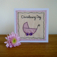 Handmade Christening card for a girl