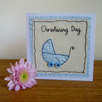 Handmade Christening card for a boy