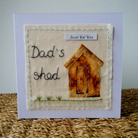 Garden shed hand stitched card for dad