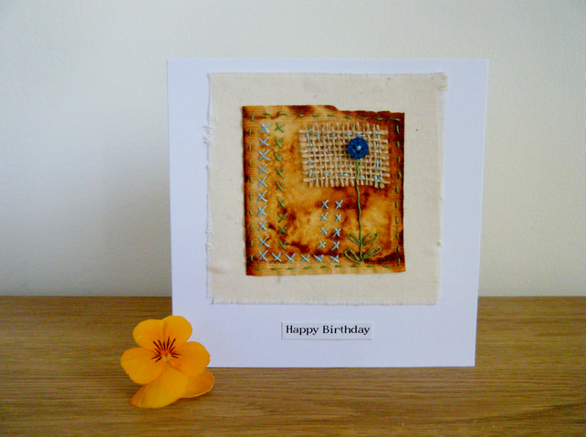 Hand stitched teabag art birthday card