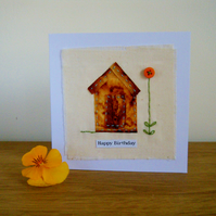 Garden shed hand stitched birthday card