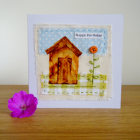 Handmade teabag shed birthday card