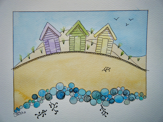 Beach Huts and Pebbles original painting