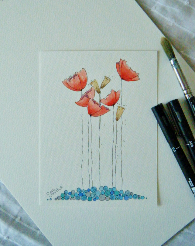 Original hand painted poppies postcard
