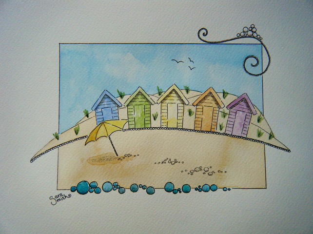 Colourful Beach Huts watercolour painting