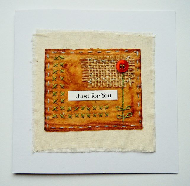 Original hand embroidered teabag Mother's Day card