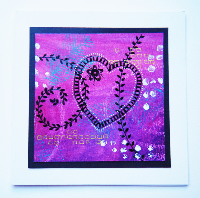 Pretty pink heart original hand painted anniversary card